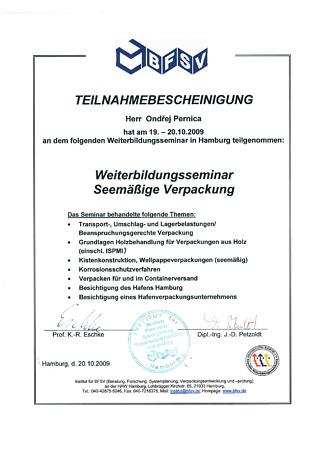 certifkát o absolvování školení pro zámořské balení v Hamburském institutu BFSV