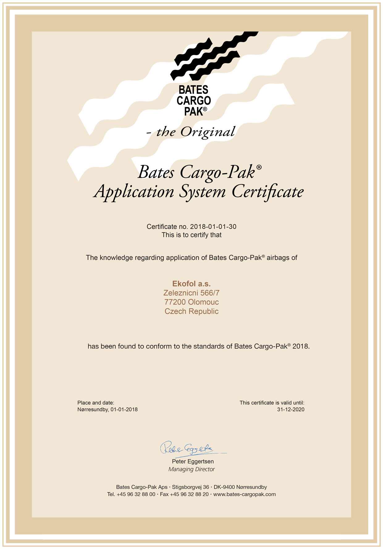 certifikát Bates