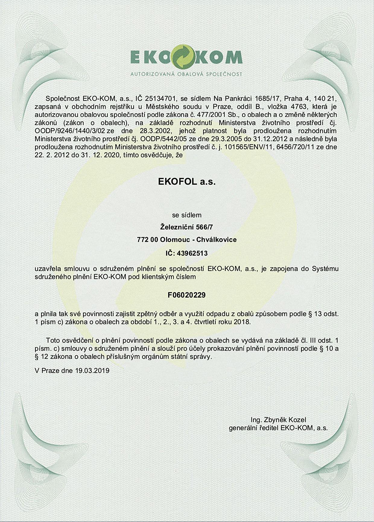 certifikát o zapojení do Systému sdruženého plnění EKO-KOM